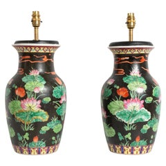 Antique Pair of 19th Century Famille Noire Chinese Vase Lamps, circa 1860