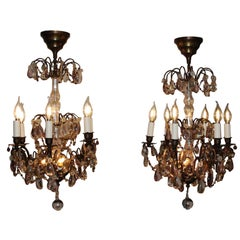 Antique Pair of 19th Century French Napoleon III Crystal and Amethyst Chandelier