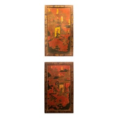 Antique Pair of 19th Century Japanese Lacquered Panels
