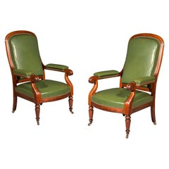 Antique Pair of 19th Century Library Armchairs