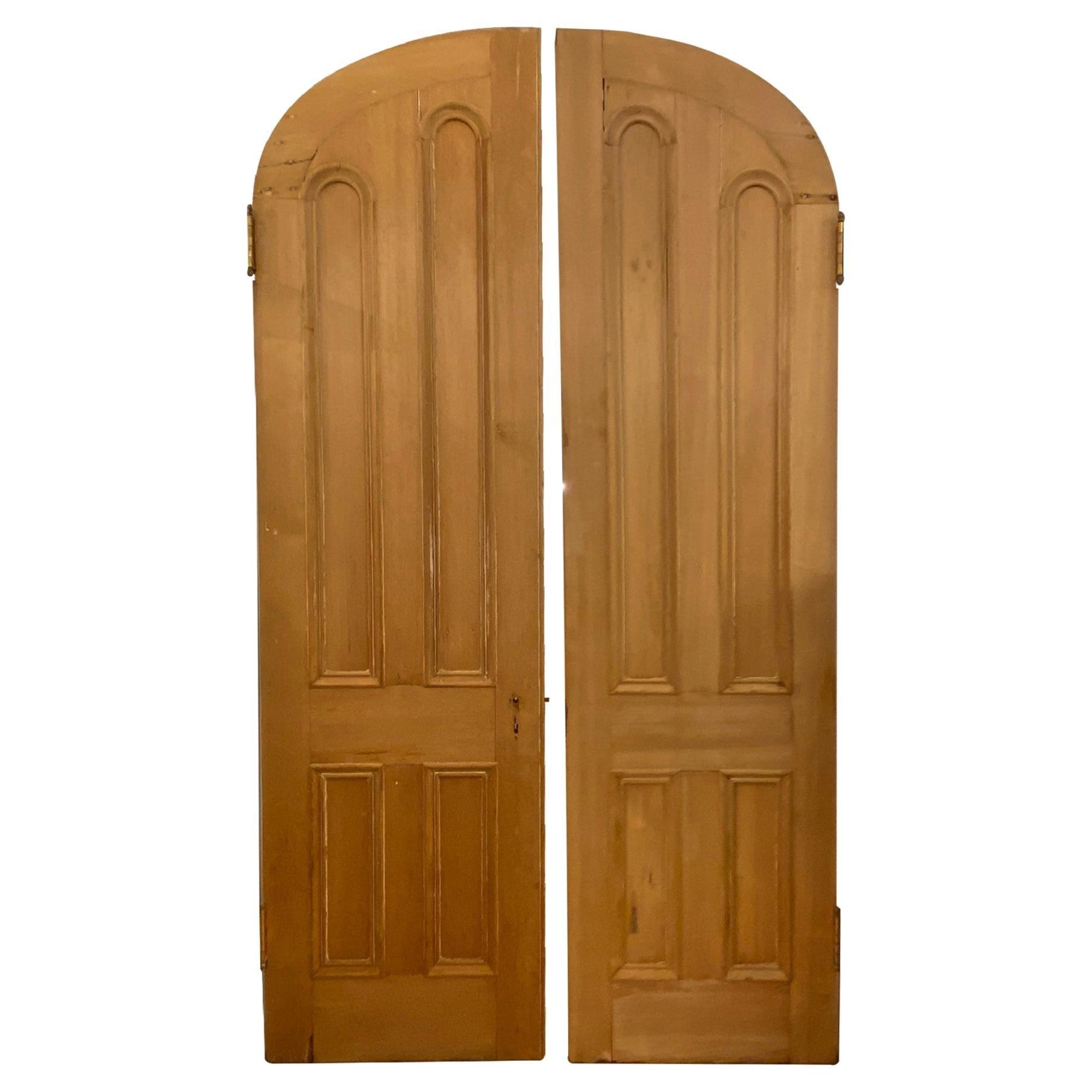 Antique Pair of 4 Pane Pine Arched Doors