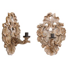 Antique Pair of Acanthus Leaf-Carved Single-Candle Wall Sconces from Italy