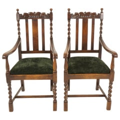 Antique Pair of Arm Chairs, Carved Oak, Barley Twist, Scotland 1920, B2485