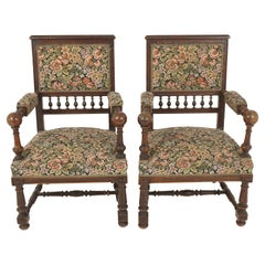 Antique Pair of Arm Chairs, Carved Oak, Upholstered Chairs, Scotland 1900, B2523