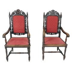 Antique Pair of Arm Chairs, Hand Carved Oak, Throne Chairs, Scotland 1880, B2415