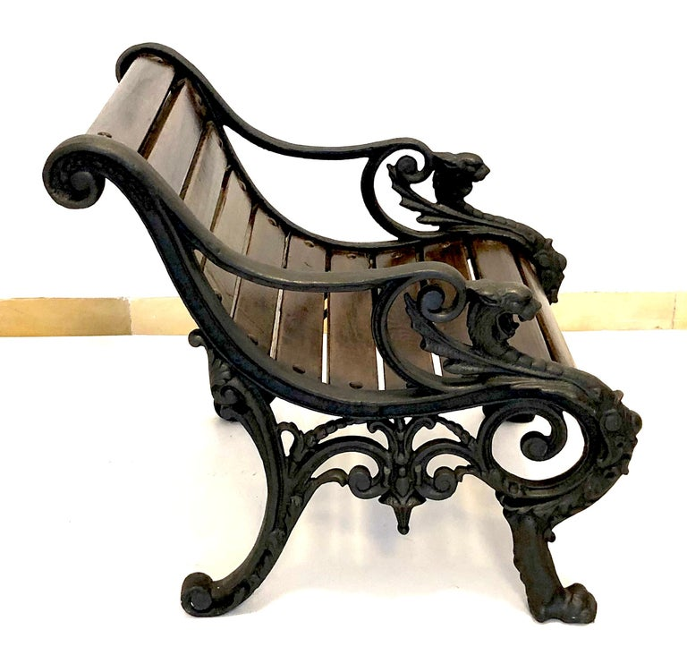 Napoleon III Antique Pair of Armchairs Cast Iron Oak Lion Heads Feet Acanthus Leaf France For Sale