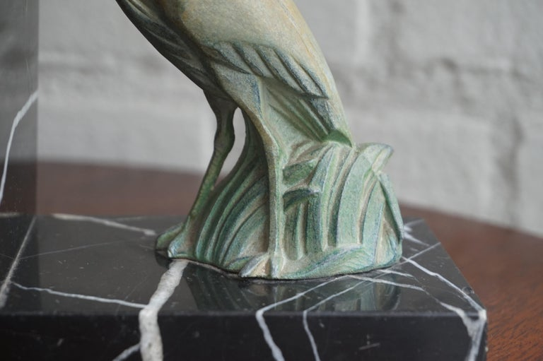 Antique Pair of Art Deco Bookends with Max Le Verrier Style Stork Sculptures For Sale 3