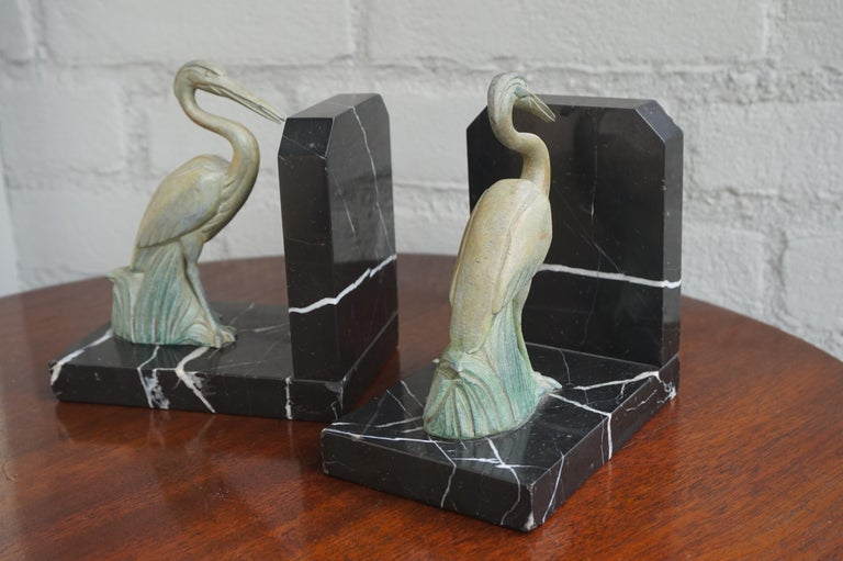 Antique Pair of Art Deco Bookends with Max Le Verrier Style Stork Sculptures For Sale 4