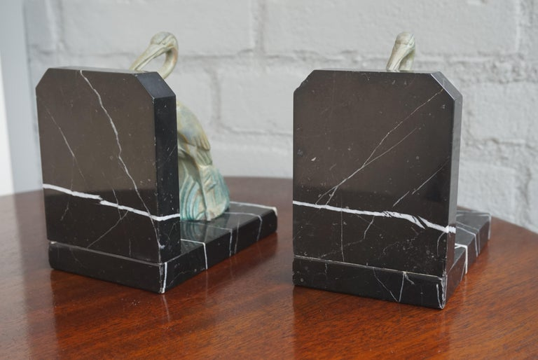Antique Pair of Art Deco Bookends with Max Le Verrier Style Stork Sculptures For Sale 5