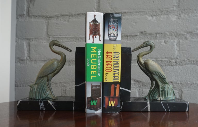 Antique Pair of Art Deco Bookends with Max Le Verrier Style Stork Sculptures For Sale 7