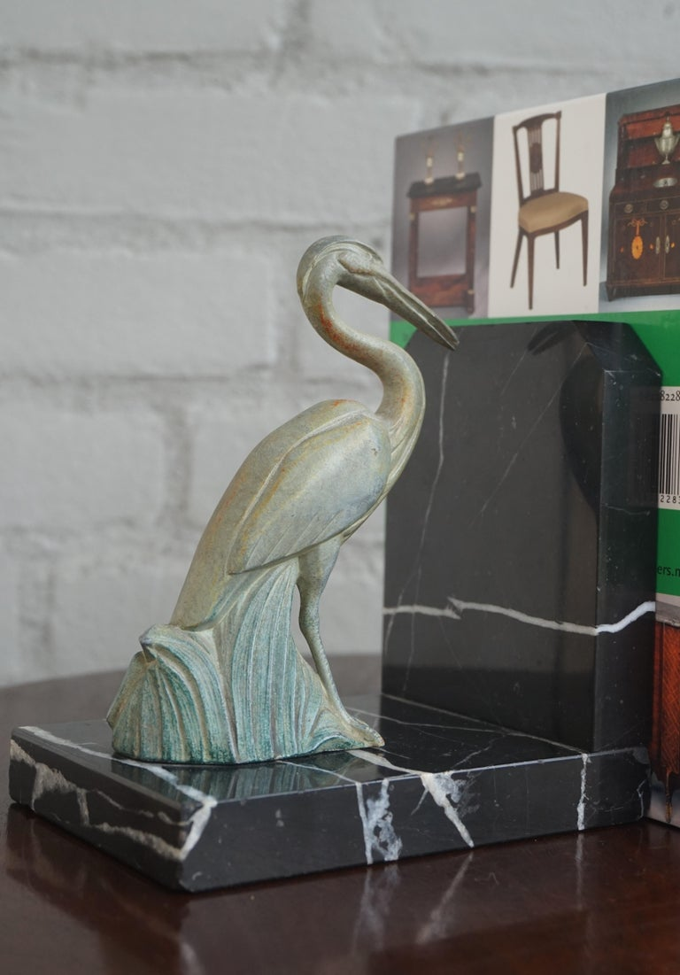 20th Century Antique Pair of Art Deco Bookends with Max Le Verrier Style Stork Sculptures For Sale