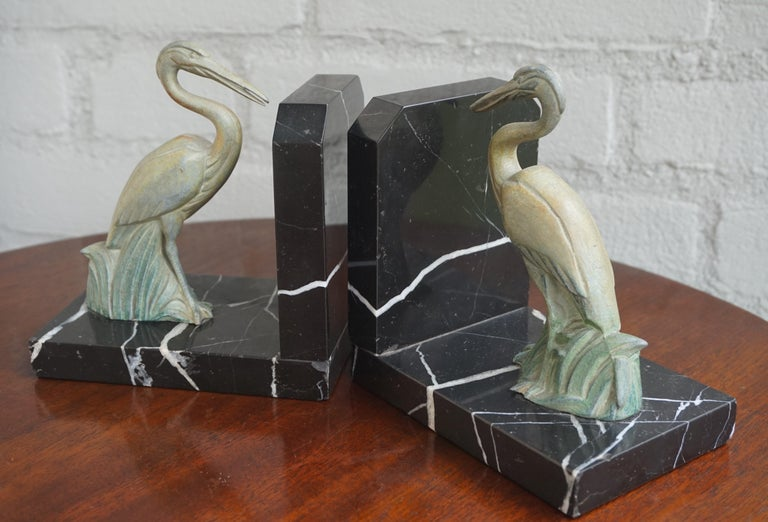 Antique Pair of Art Deco Bookends with Max Le Verrier Style Stork Sculptures For Sale 1