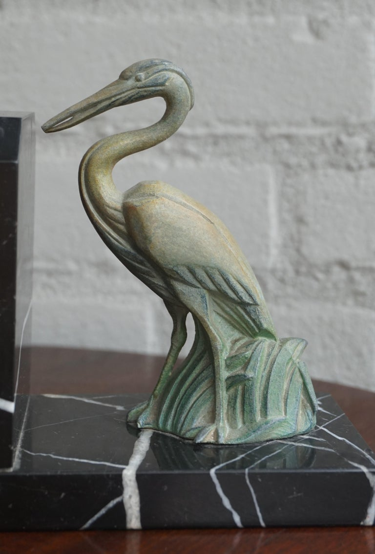 Antique Pair of Art Deco Bookends with Max Le Verrier Style Stork Sculptures For Sale 2