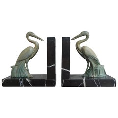 Antique Pair of Art Deco Bookends with Max Le Verrier Style Stork Sculptures