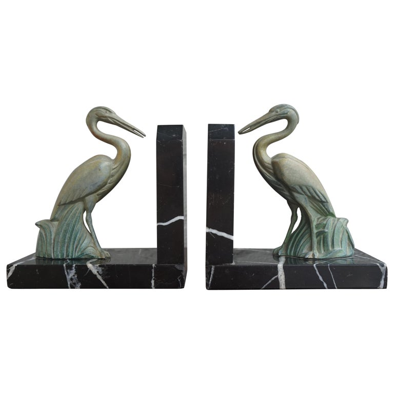 Antique Pair of Art Deco Bookends with Max Le Verrier Style Stork Sculptures For Sale