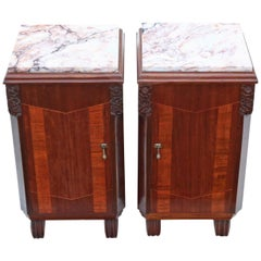 Antique Pair of Art Deco Marquetry Bedside Tables Cupboards Marble