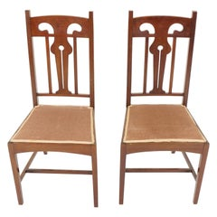 Antique Pair of Art Nouveau Upholstered Bedroom Chairs, Scotland 1910, B2258