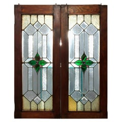 Antique Pair of Arts & Crafts Jeweled & Leaded Glass Windows, Circa 1900