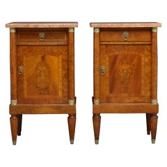 Antique Pair of Bedside Cabinets in Mahogany and Amboyna