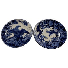 Antique Pair of Blue and White Japanese Porcelain Chargers