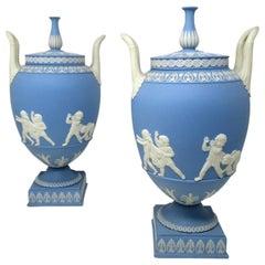 Antique Pair of Blue Wedgwood Jasperware Ceramic Urns Vases John Flaxman Cherubs