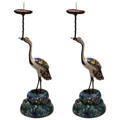 Antique Pair of Blue, White and Multicoloured Cloisonné Cranes