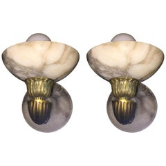 Antique Pair of Brass and Alabaster Sconces