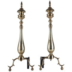 Antique Pair of Brass Baluster Turned Andirons with Cast Legs, circa 1920