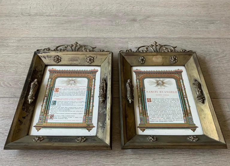 Antique Pair of Brass & Bronze Gothic Wall Picture Frames with Saint Sculptures For Sale 3