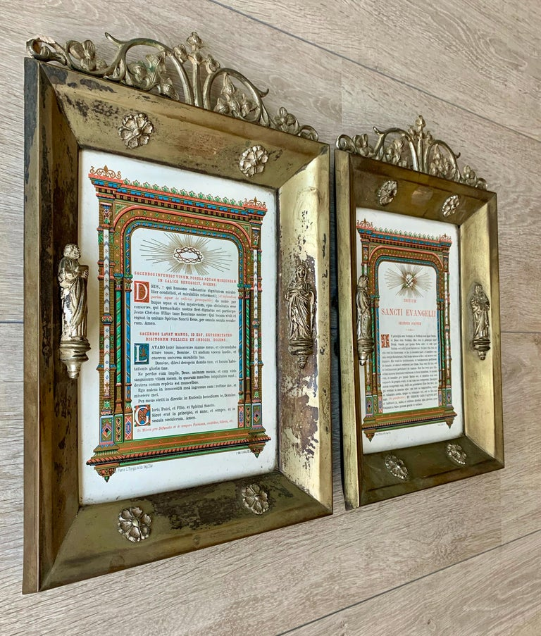 Antique Pair of Brass & Bronze Gothic Wall Picture Frames with Saint Sculptures For Sale 9