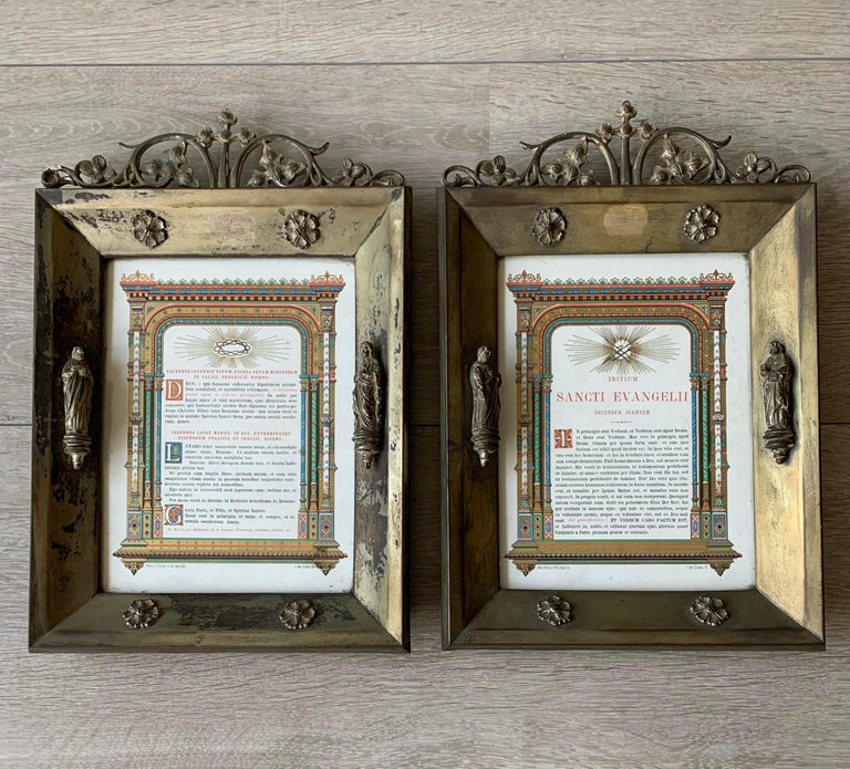 For the collectors of rare and ready to use Gothic antiques.  These beautiful and all handcrafted Gothic Revival picture frames with Biblical texts in Latin are an absolute joy to own and look at. They date from the turn of the century (ca. 1900)