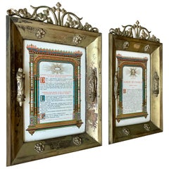 Antique Pair of Brass & Bronze Gothic Wall Picture Frames with Saint Sculptures