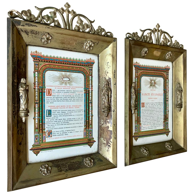 Antique Pair of Brass & Bronze Gothic Wall Picture Frames with Saint Sculptures For Sale