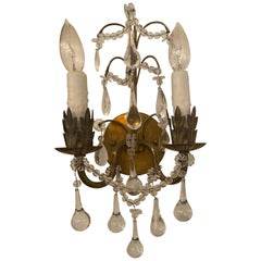 Antique Pair of Brass Sconces with Crystal