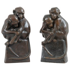 Antique Pair of Bronze Monkey Bookends, ca. 1900