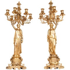 Antique Pair of Bronze Six-Light Candelabra with Flame Finials