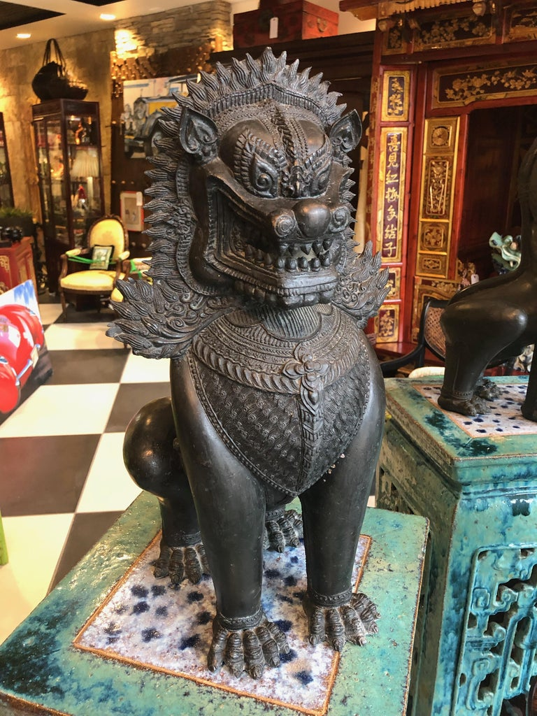 These Foo dogs are bronze statues from Thailand fierce Mythical lions ornamental in jewelry across their chests, baring their teeth to scare away bad spirits and bad luck. The