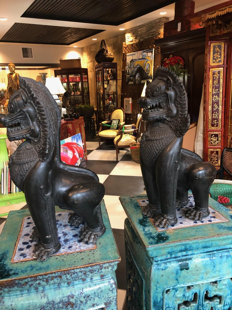 Thai Antique Pair of Bronze Standing Foo Dogs Khmer Style For Sale
