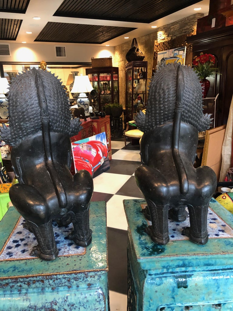Antique Pair of Bronze Standing Foo Dogs Khmer Style In Good Condition For Sale In Sarasota, FL