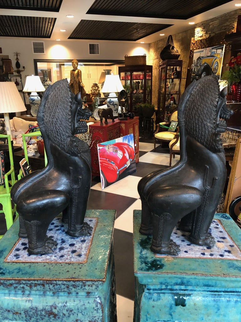 Antique Pair of Bronze Standing Foo Dogs Khmer Style For Sale 4
