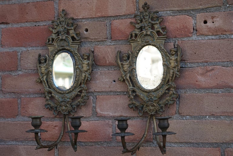 Antique Pair of Bronze Wall Sconce Candelabras w. Mirrors, Angels & Medusa Masks For Sale 4