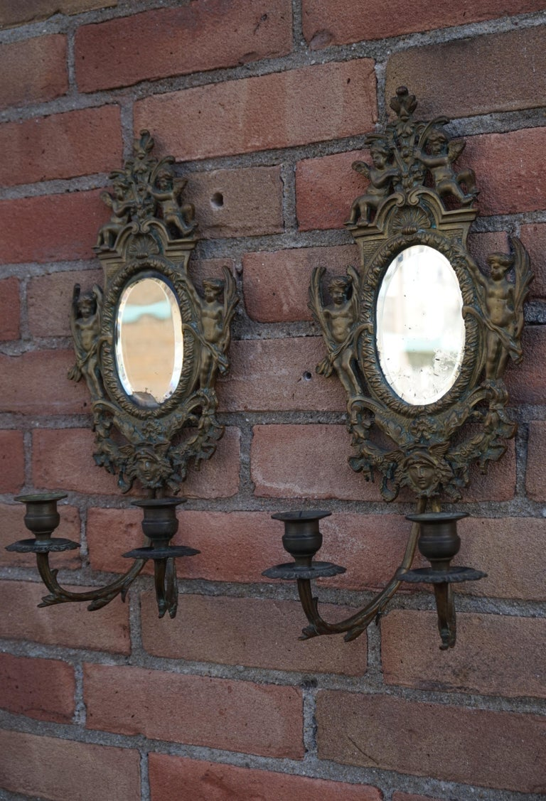 Antique Pair of Bronze Wall Sconce Candelabras w. Mirrors, Angels & Medusa Masks For Sale 10