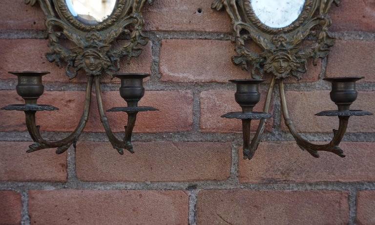 Antique Pair of Bronze Wall Sconce Candelabras w. Mirrors, Angels & Medusa Masks For Sale 11