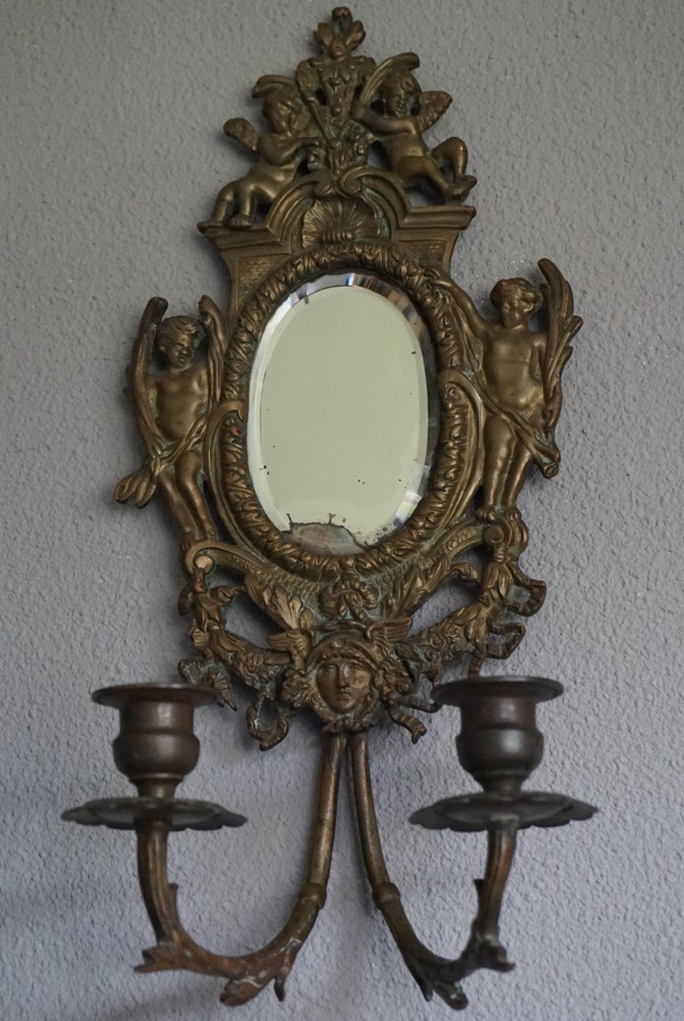 Antique Pair Of Bronze Wall Sconce Candelabras W Mirrors