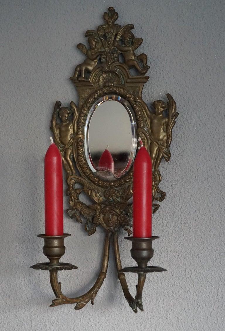 Renaissance Revival Antique Pair of Bronze Wall Sconce Candelabras w. Mirrors, Angels & Medusa Masks For Sale