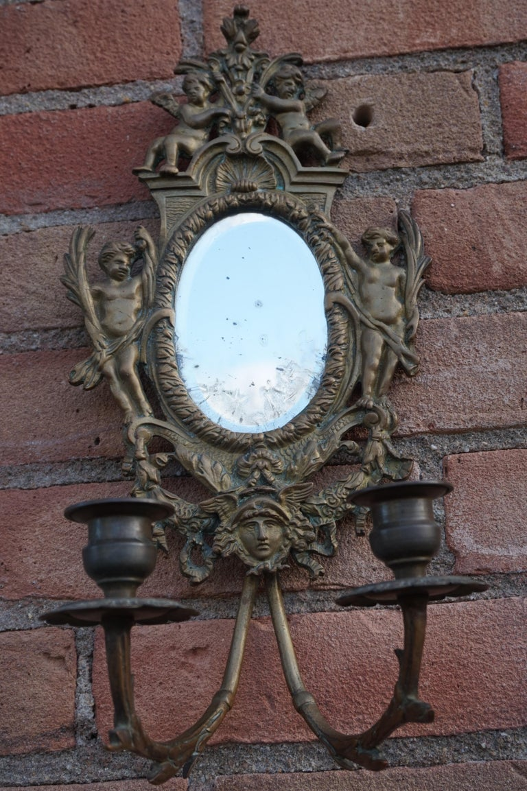 French Antique Pair of Bronze Wall Sconce Candelabras w. Mirrors, Angels & Medusa Masks For Sale