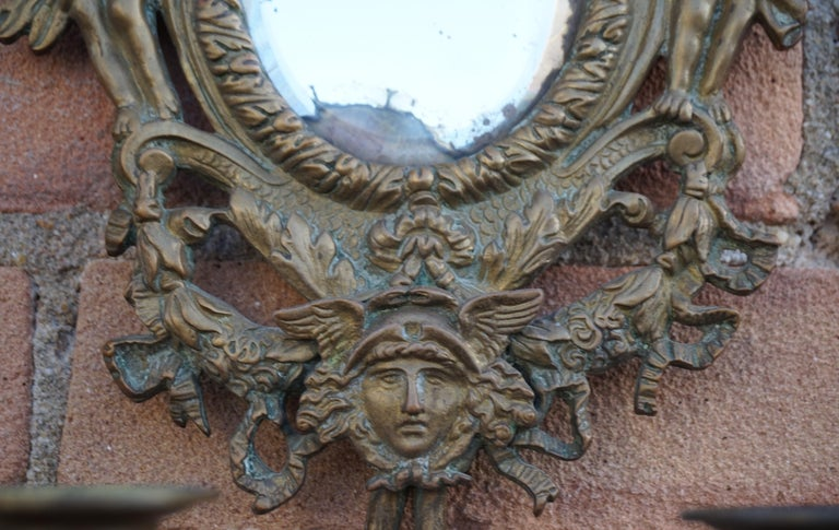 Beveled Antique Pair of Bronze Wall Sconce Candelabras w. Mirrors, Angels & Medusa Masks For Sale