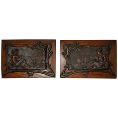 Antique Pair of Bronzed Metal Jugendstil Wall Plaques with Female Sculptures