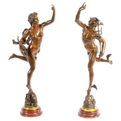 Antique Pair of Bronzes of Mercury & Fortuna After Giambologna & Fulconis