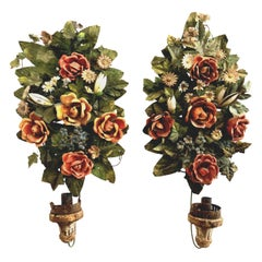 Antique Pair of Candle Appliques Bouquets of Flowers Painted Metall